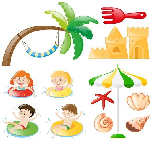 Barn simning och strand objekt vektor