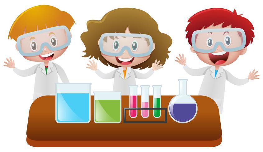 Tre barn i vetenskapslaboratoriet vektor