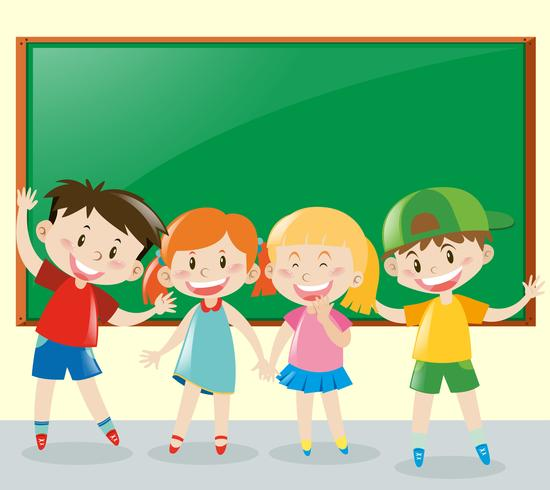 Fyra elever har kul i klassrummet vektor