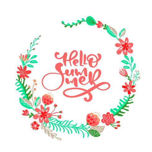Text Hej sommar i blommiga löv ram krans vektor