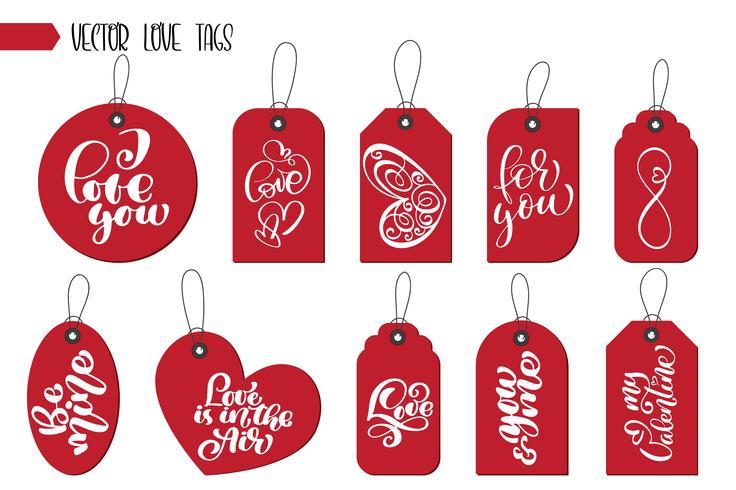 Valentinstag Geschenkanhänger und Karten vektor