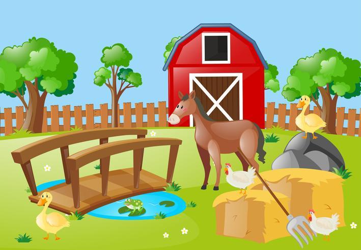 Bauernhofszene mit Tieren auf dem Gebiet vektor