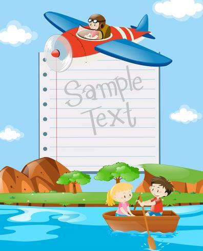 Pappersmall med barn i båt och plan vektor