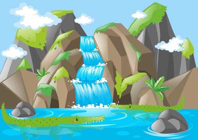 Scen med moutains och vattenfall vektor