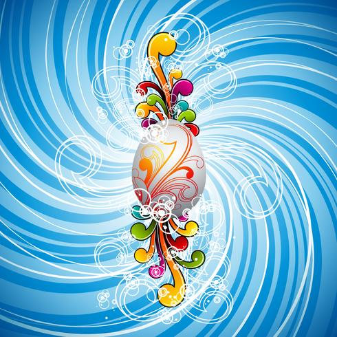 Påsk illustration med målade ägg och blommigt motiv på våren bakgrund. vektor