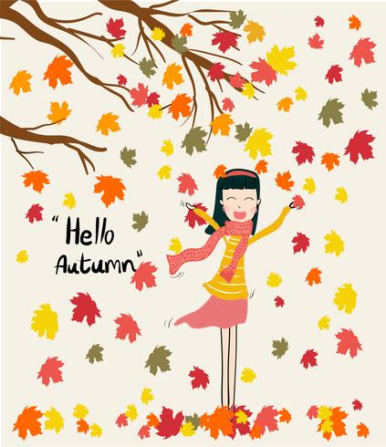 vektor en flicka som står under torra löv fallande träd i höst säsongen, vindblåsning med Hello höst ord