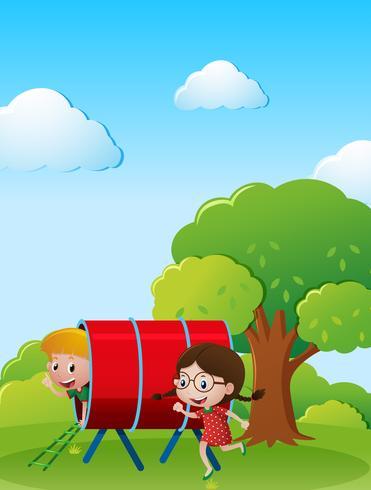 Två barn leker i parken vektor