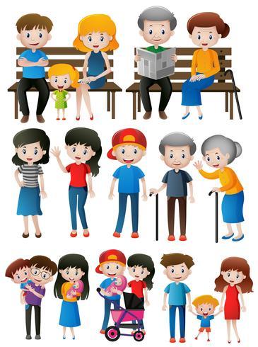 Familjemedlemmar av olika generationer vektor