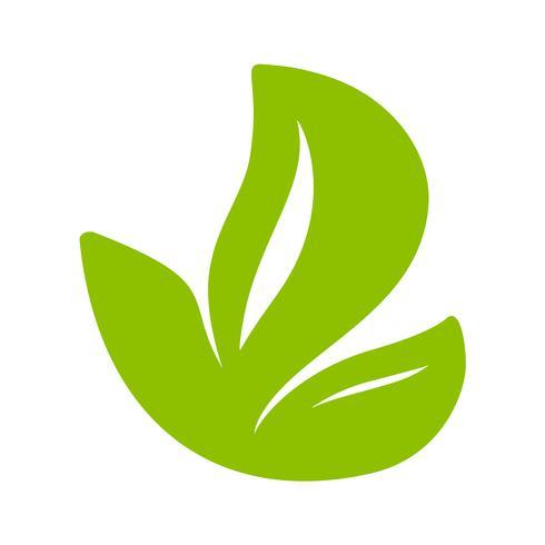 Logo av grönt blad av te. Ekologi naturelement vektor ikon platt. Eco veganisk bio kalligrafi handritad illustration