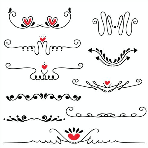 Hand gezeichnete skizzierte Linie Grenzhochzeitskunst-Vektorillustration vektor