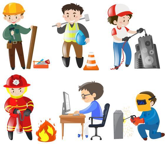 Människor som arbetar på olika jobb vektor