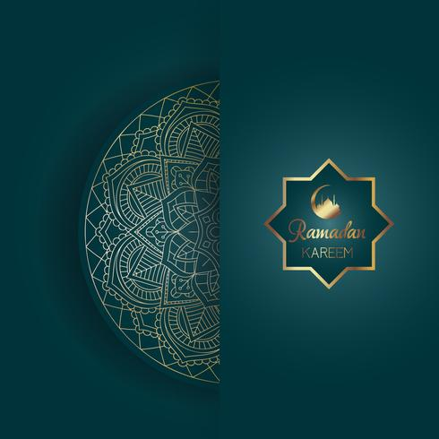 Dekorativ Ramadan Kareem bakgrund med mandala design vektor