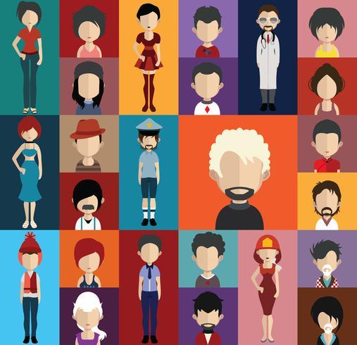 People-Avatar mit Ganzkörper- und Rumpfvariationen vektor