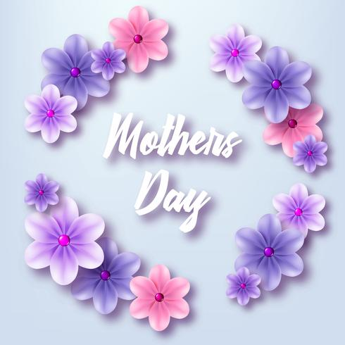 Illustration för mors dag. Ram av blå blommor vektor