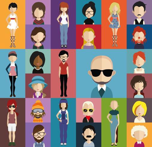 Personer avatar med full kropp och torso variationer vektor