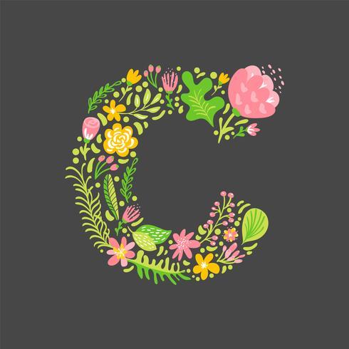 Blomstrande sommar Brev C vektor