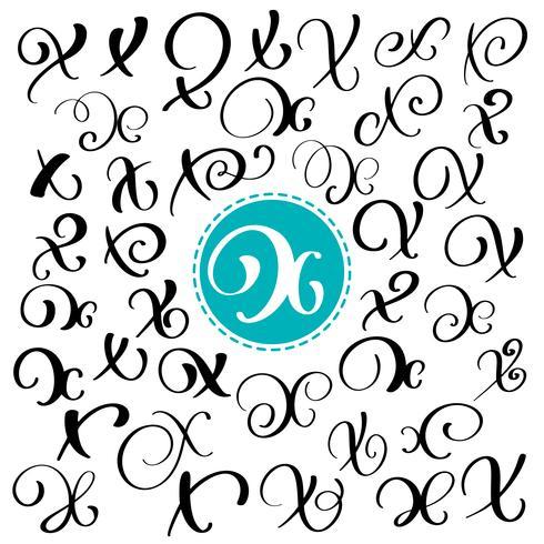 Set med handritad vektor kalligrafi brev X