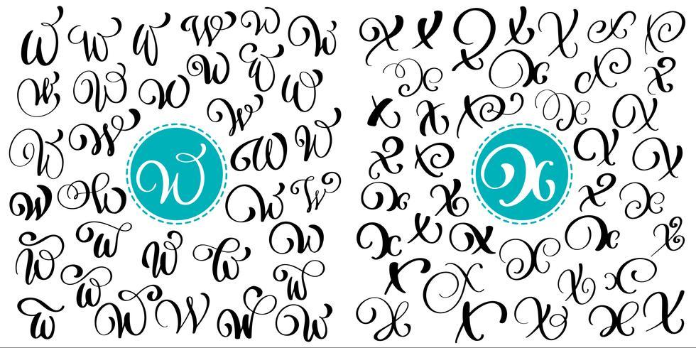 Sats med handtecknad vektor kalligrafi brev W, X