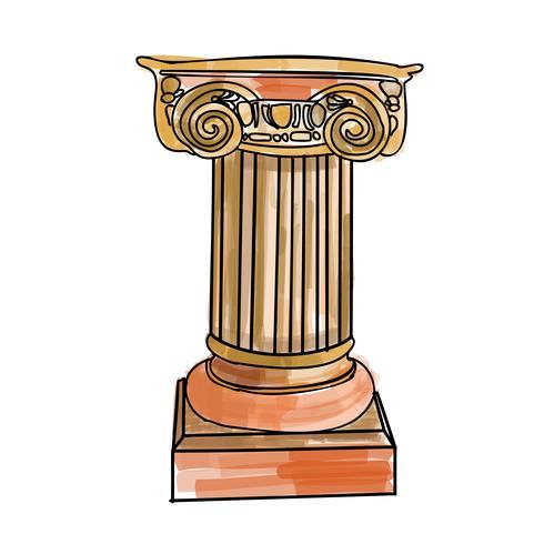 Stilisierte griechische Gekritzelsäule Dorische ionische korinthische Säulen vektor