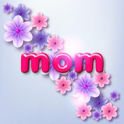 Glad mors dag. Vektor helgdag illustration med färgglada 3d papper blommor och text etikett. Realistisk 3d vårbanner. Jag älskar dig mamma. Semesterförsäljning eller erbjudande tecken