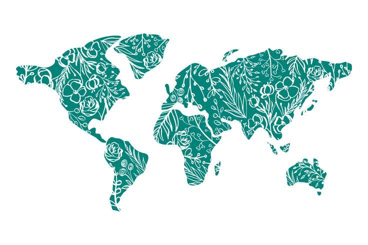 Världskarta Handritad med blommor till Alla hjärtans dag vektor