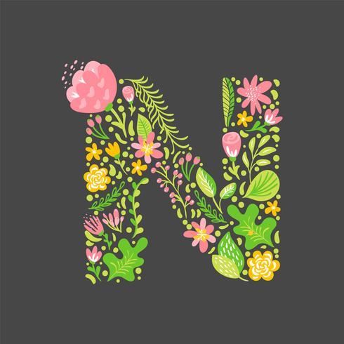 Blumensommer Buchstabe N vektor