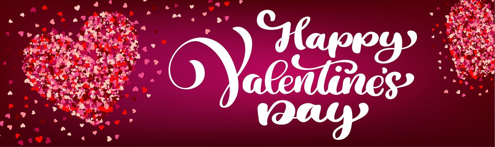 Text bokstäver Happy Valentines dag banners vektor