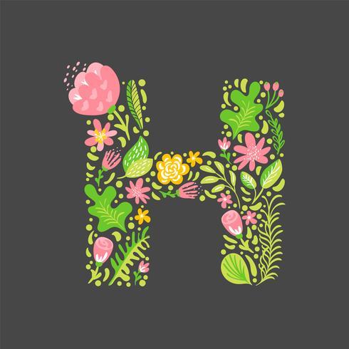 Blomstrande sommar brev H vektor
