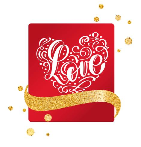 Valentinsgrußkarte mit Weinleseherzen und Handschriftsbeschriftungsliebe mit Goldfarbband vektor