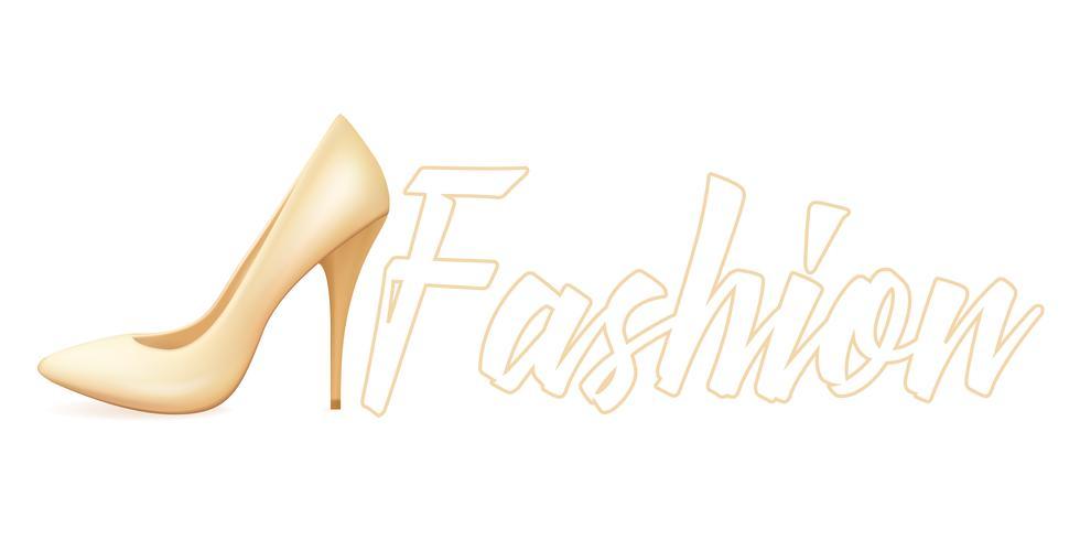 Realistiska beige skor på en båls häl. Mode vektor illustration
