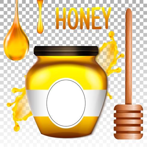 Realistisk 3d bank av honung. Vektor illustration
