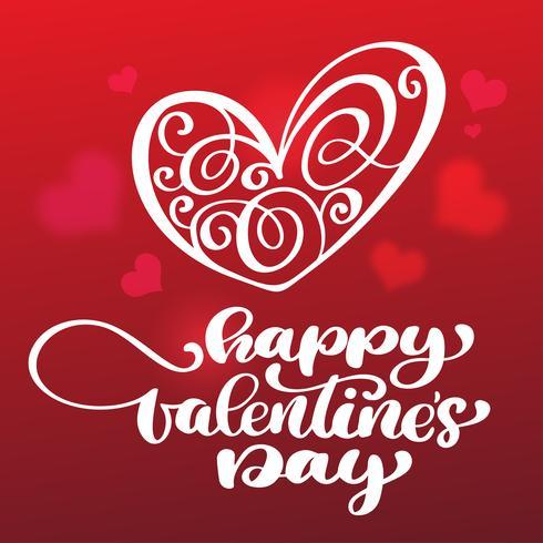 Lycklig Alla hjärtans dag handritad penselbokstäver med hjärtad röd bakgrund vektor