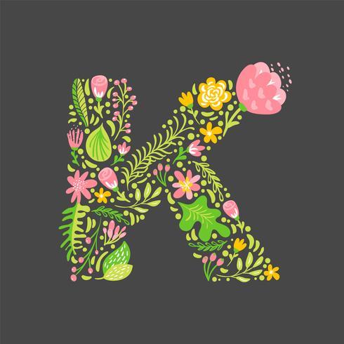 Blomstrande sommar brev K vektor