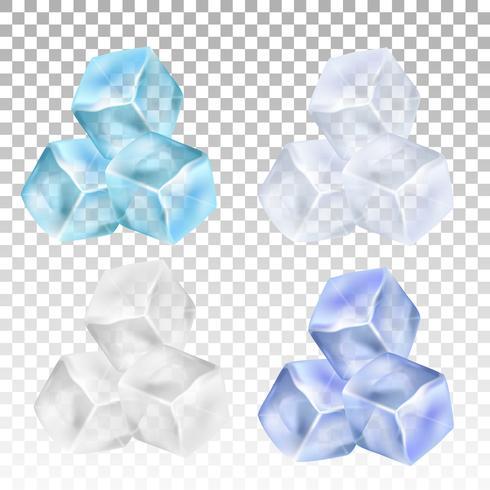 Realistiska isbitar på en genomskinlig bakgrund. Vektor illustration