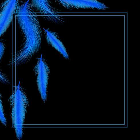 Kort eller inbjudan med blå fjädrar vektor