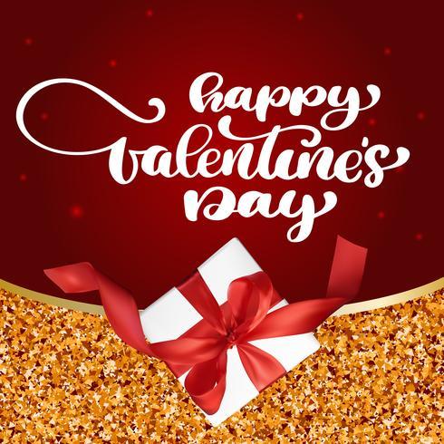 Karte Happy Valentines Day handgezeichnete Pinsel Schriftzug mit Geschenk roten Hintergrund vektor