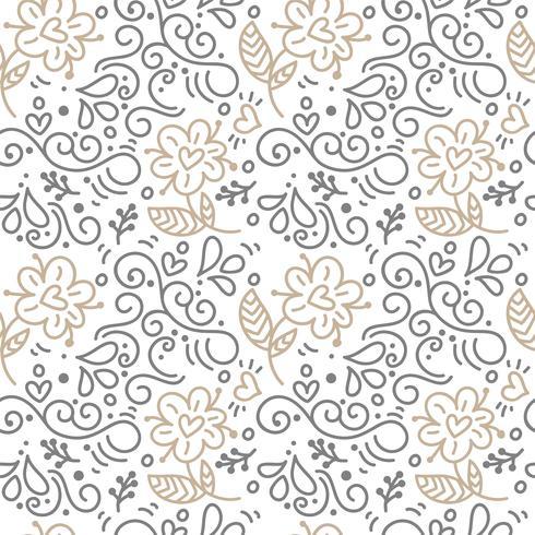 Nahtloses Muster mit handgemalten Blättern im skandinavischen Stil vektor