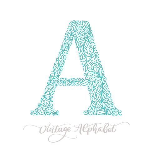 Handritad En brev kalligrafi vintage logotyp design mall vektor