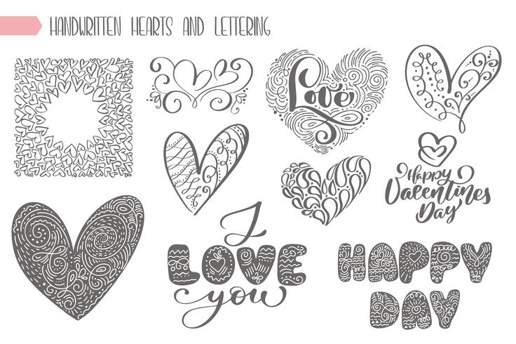 Stor uppsättning valentiner dag handskrivet bokstäver vektor