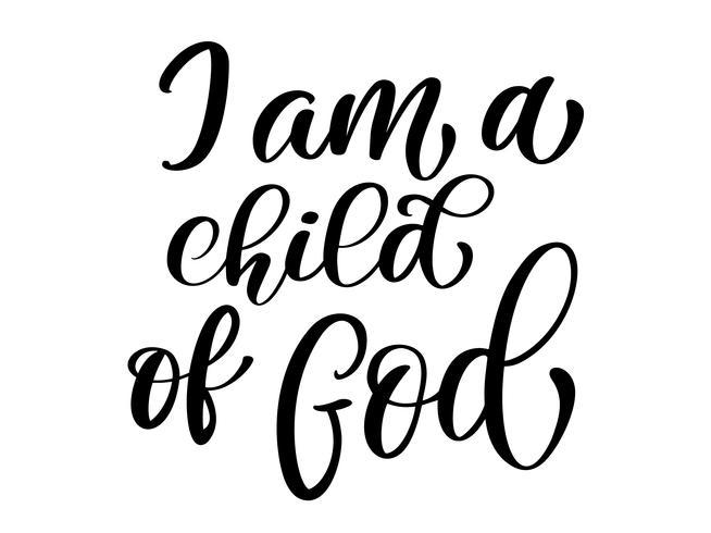Jag är ett Guds kristna citat i bibeltext vektor