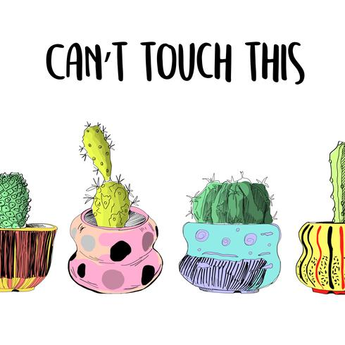 Gulligt kaktuskort. Kan inte röra vid det här. vektor