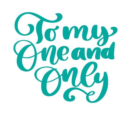 du är min enda handbläck bokstäver fraser firande bröllopsdesign hälsningskort, fotografi överlägg, kalligrafi vektor illustration