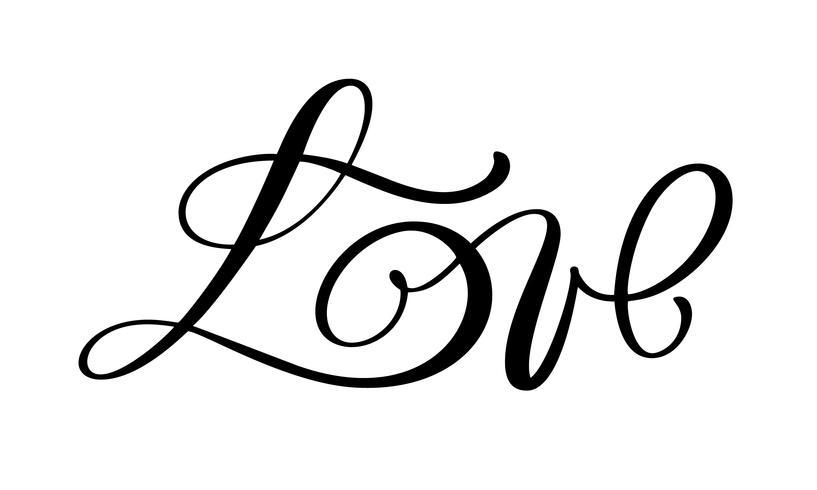 Liebesgrußkartendesign mit stilvollem rotem Text vektor