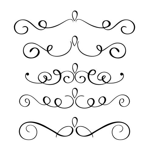 Handgezeichnete Flourish Kalligraphie Elemente gesetzt. Vektorabbildung auf einem weißen Hintergrund vektor