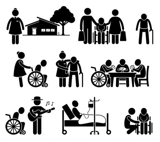 Äldreomsorg Sjuksköterska Gamla Folk Hem Retirement Center Pictogram. vektor