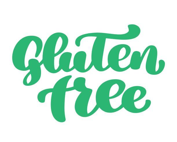 Glutenfri. Handtecknad brevfras isolerad på vit bakgrund. Vektor illustration text kalligrafi citat