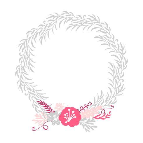 blommiga kransbukettblommor Botaniska element isolerade på vit bakgrund i skandinavisk stil. Handritad vektor illustration