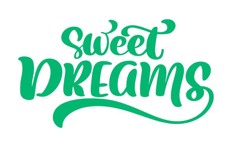 Süße Träume Vektortexthand, Zitat beschriftend vektor