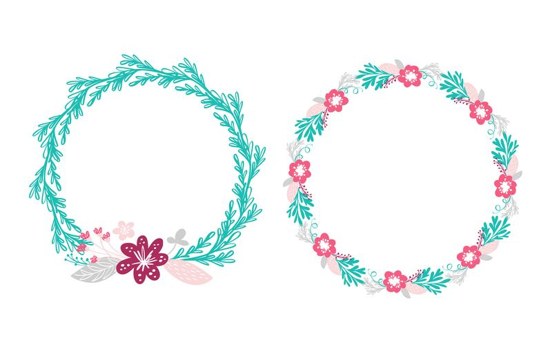 zwei Blumenkranz Blumenstrauß vektor