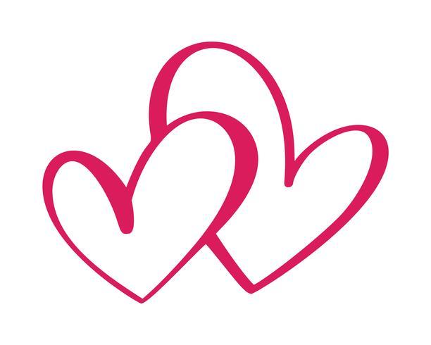 Herz zwei Liebeszeichen. Ikone auf weißem Hintergrund. Romantisches Symbol verbunden, verbinden, Leidenschaft und Hochzeit. Vorlage für T-Shirt, Karte, Poster. Flaches Element des Designs des Valentinstags. Vektor-Illustration vektor
